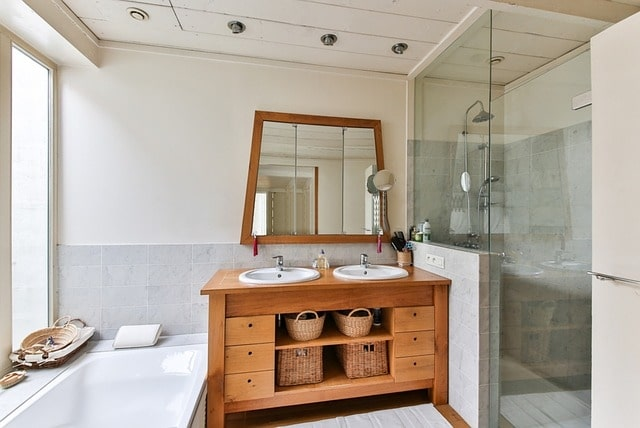 Ash White & Light Brown Bathroom Design