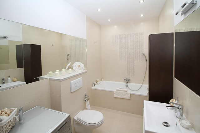 White & Brown Bathroom Design
