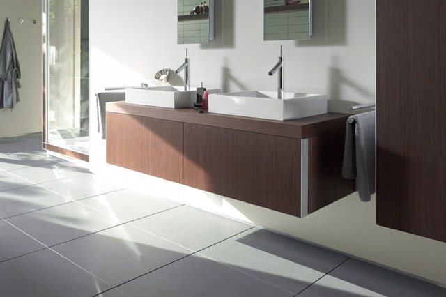 White & Light Brown Bathroom Design