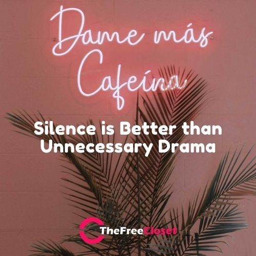Silence is Better than Unnecessary Drama