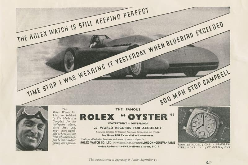 Historical advertising for the Rolex Oyster
